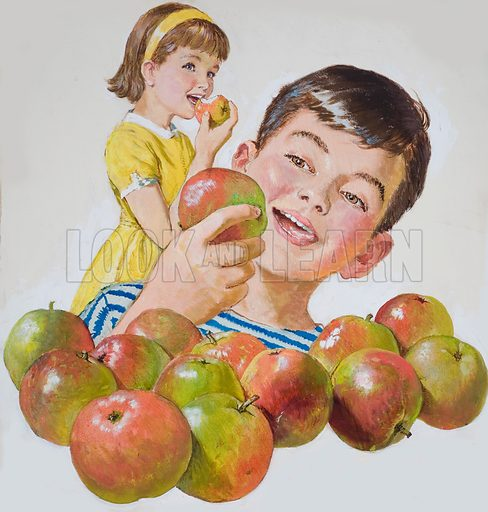 Boy and Girl with Apples. Original artwork for cover of Treasure issue no 2.