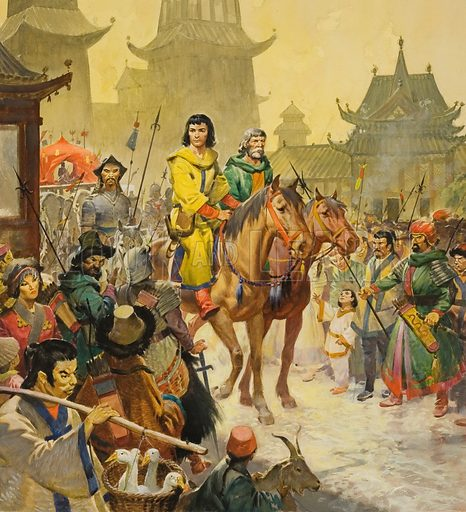Venetian explorer Marco Polo's arrival in Peking, China, 13th Century. Original artwork for cover illustration of Look and Learn issue no 528 (26 February 1972).