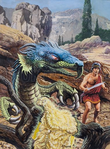 Legend of the Golden Fleece.  Original artwork for cover illustration to Look and Learn issue no 833 (31 December 1977).