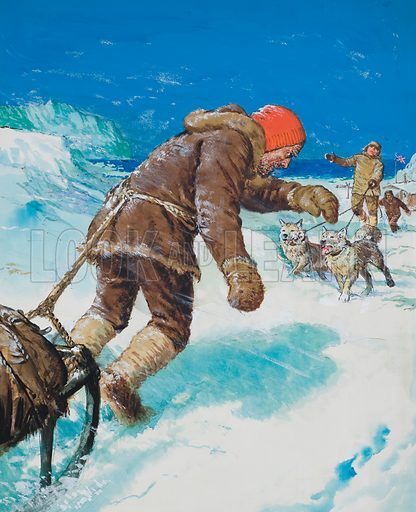 Terrible Trek. On 17 November 1912, young Douglas Mawson of the Australasian Antarctic Expedition left Main Base to explore Adelie Land.  It was the start of what was to prove perhaps the most terrible solo trek ever undertaken.  Original artwork for cover of Look and Learn issue no 491 (12 June 1971).