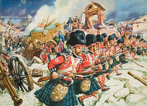 Defence of Corunna. Original artwork for Look and Learn (appearance in magazine yet to be identified).