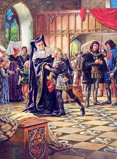 Edward V being handed over to the Duke of Gloucester (Richard III). At his home in Ludlow Castle in Wales young Edward bids farewell to his friends and servants. He has learned of his father's death, and the Council in London has sent the Duke of Gloucester and a party of men to bring him to his coronation in the capital. Original artwork for illustration on p10 of Look and Learn issue no 133 (1 August 1964).