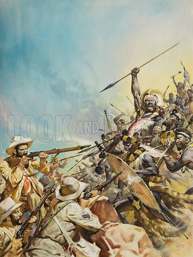 Boers Fighting Zulus in South Africa, 19th Century. Original artwork for cover of Look and Learn issue no 509 (16 October 1971).