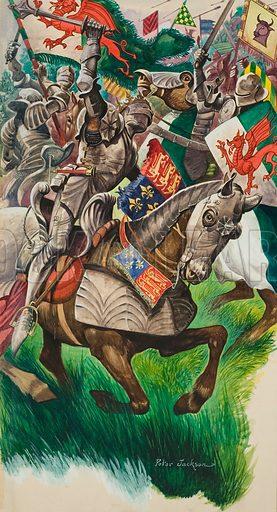 Bosworth. King Richard and Henry Tudor on the battlefield at Market Bosworth. Original artwork for illustration on p16 of Treasure issue no 78.