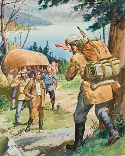 Hudson's Bay Company.  French traders could not believe their eyes when they saw company explorer Anthony Henday.  He had travelled inland so swiftly that he had passed the Frenchmen on the way to the Rockies and met them face to face as he returned.  Original artwork for illustration (reversed) on p11 of Look and Learn issue no 125 (6 June 1964).