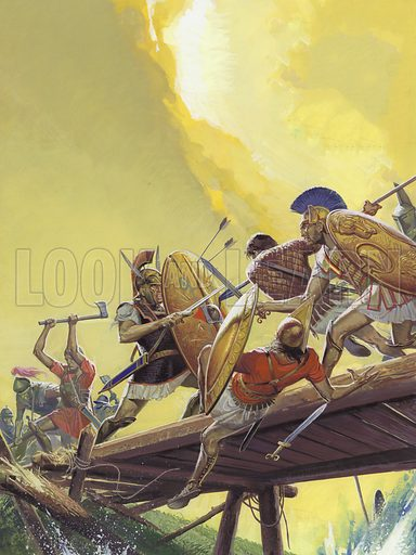 Horatius at the Bridge. According to legend, to enter Rome, the Etruscan army had to cross a narrow bridge. Three men stood alone on that bridge to defend their city against the invaders.