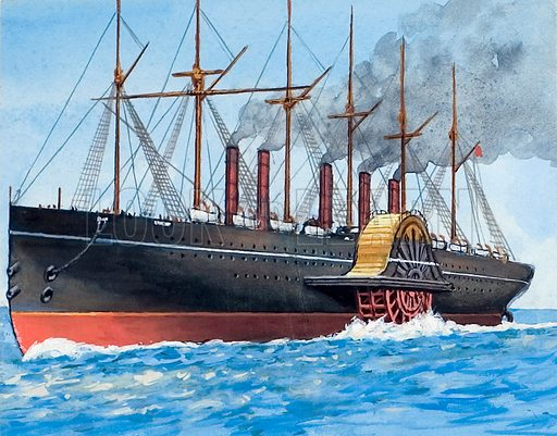 Great Western, one of the ships for which Isambard Brunel was responsible for the design and construction.  Original artwork for illustration on p44 of The Look and Learn Book 1983.  Artwork lent for scanning by The Gallery of Illustration.