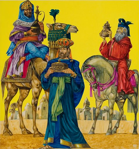 The Three Kings bearing their gifts of gold, frankincense and myrrh. Original artwork for cover of Treasure issue no 415 (26 December 1970).
