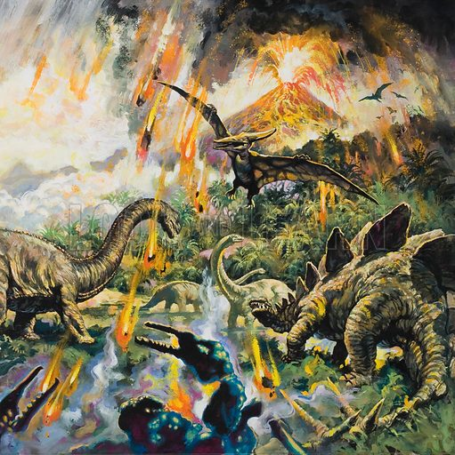 Dinosaurs and an erupting volcano. Detail from original artwork for illustration on pp8–9 of Look and Learn issue no 902 (5 May 1979).
