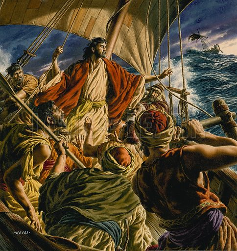Jesus Christ and his disciples sailing on the Sea of Galilee. Original artwork for cover of The Bible Story issue no 18.