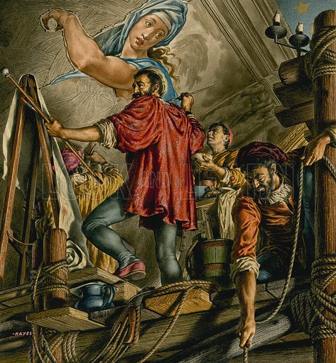 Michelangelo painting the ceiling of the Sistine Chapel, St Peter's Basilica, Rome, 1508–1512. Original artwork for illustration in The Bible Story or Look and Learn (issue yet to be identified).