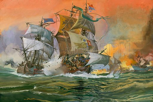 Naval Battle Scene.  Original artwork for illustration in Look and Learn (issue yet to be identified).