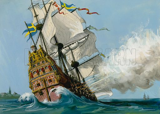 Vasa, Swedish warship which sank on its maiden voyage, 1628. Original artwork for Look and Learn (issue yet to be identified).