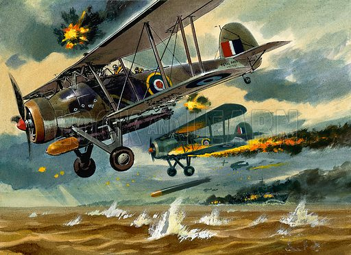Aircraft under Fire.  Original artwork for Look and Learn or Ranger (issue yet to be identified).