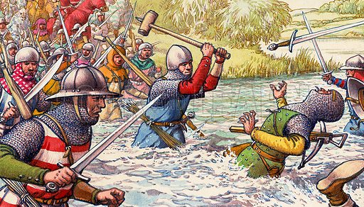 Hundred Years War.  A bitter struggle was fought at Blancheataque between knights, cross-bowmen and archers with sharp-bladed falchions and heavy mallets.  Original artwork for illustration on p20 of Look and Learn issue no 494 (3 July 1971).