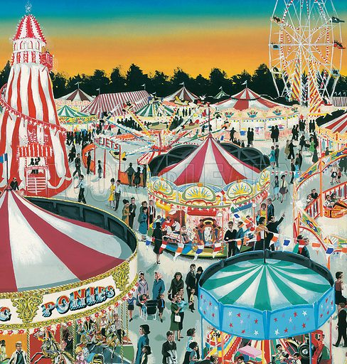Fairground. Original artwork for Treasure or Look and Learn (issue yet to be identified).