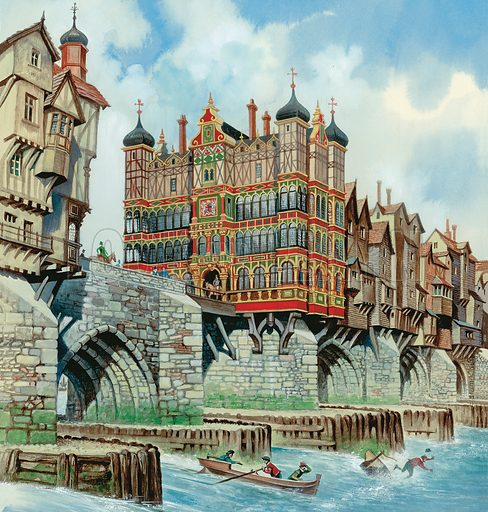 Old London Bridge.  Original artwork for Look and Learn or Treasure (issue yet to be identified).