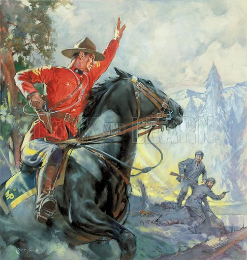 Lawmen of the Lonely Outposts -- the story of the Canadian Mounties.  Original artwork for cover of Look and Learn issue no 92.
