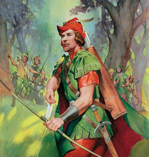 Robin Hood, medieval outlaw of English folklore, in Sherwood Forest with his Merry Men. Original artwork for Look and Learn (issue yet to be identified).