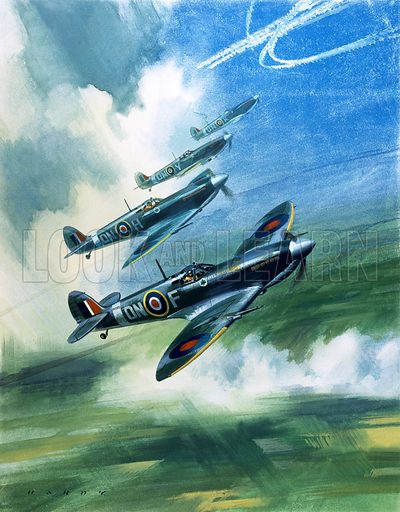"Supermarine Spitfire MK9s.  The picture shows a patrolling flight of 416 Squadron, Royal Canadian Air Force, Spitfire Mark 9s.  They belonged to a Canadian wing led by Wing Commander (later Air-Vice Marshal) ""Johnnie"" Johnson, who, while flying Spitfires, destroyed thirty-eight enemy aircraft."