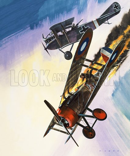 Aircraft. Original artwork for illustration in Look and Learn (issue yet to be identified). Scanned from transparency.