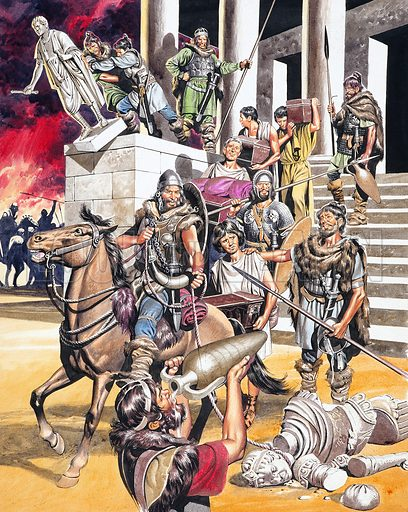 The fall of the Roman Empire in the West: the sack of Rome by Alaric and the Visigoths, 410. Original artwork for illustration on p15 of Look and Learn issue no 306.