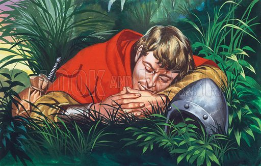 Knight resting.  Original artwork for illustration in Look and Learn (issue yet to be identified).  Scanned from transparency.