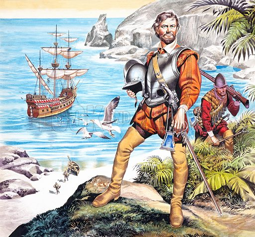 Francis Drake and the Golden Hind. Original artwork for cover of Look and Learn issue no 323. Scanned from transparency.