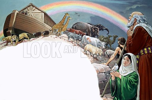 Noah's Ark.  Original artwork for Look and Learn or The Bible Story.  Scanned from transparency.