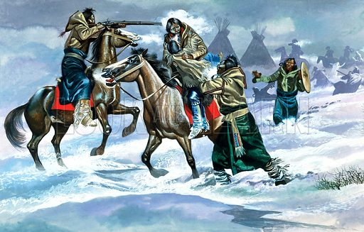 Indians in the Snow.  Original artwork for Look and Learn (issue yet to be identified).