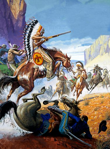 Skirmish between Native Americans and the US Cavalry