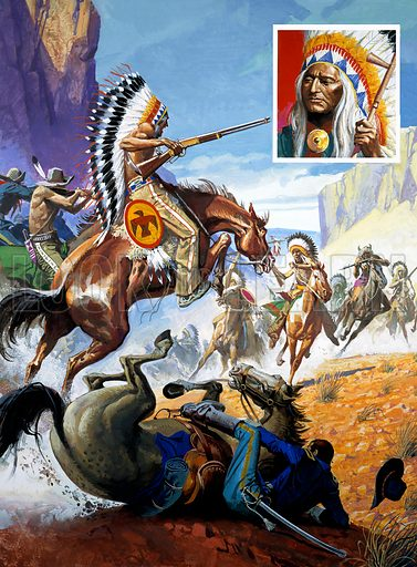 Skirmish involving Red Indians and Soldiers.  Original artwork for Look and Learn (issue yet to be identified).  Scanned from transparency.