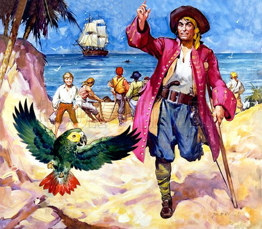 Long John Silver and his Parrot.