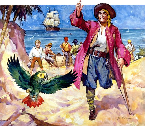 Long John Silver and his parrot, from Treasure Island, by Robert Louis Stevenson. Original artwork for cover of Look and Learn issue no 333.