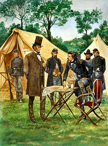 Abraham Lincoln plans his campaign during the American Civil War, his Yankee soldiers in the background.  Original artwork for illustration on p16 of Treasure issue no 182.  Scanned from transparency.