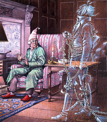 Marley's Ghost visiting Scrooge on Christmas Eve, scene from A Christmas Carol, by Charles Dickens. Original artwork for cover of Look and Learn issue no 676 (28 December 1974).