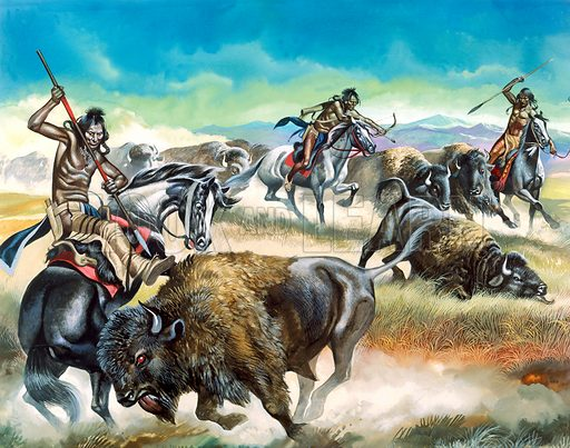 Indians killing bison.  Original artwork for Look and Learn (issue yet to be identified).  Sacnned from transparency.