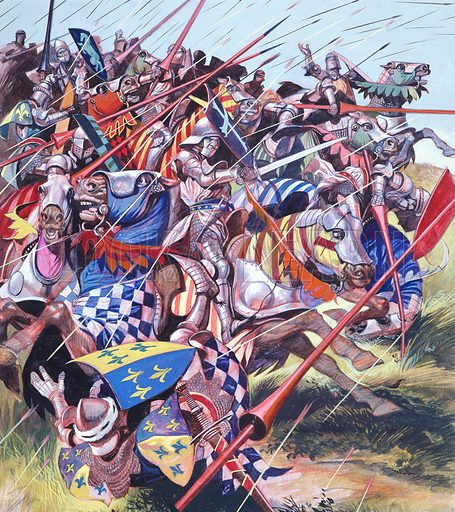 """French cavalry under fire from English lonbows at the Battle of Agincourt, France, Hundred Years War, 1415. """"Between two woods in the north of France, ten thousand exhausted Englishmen faced a French army four times bigger. The French had all the armour and all the food – the English, only a dynamic, determined king to lead them…"""" Original artwork for illustration on p8 of Look and Learn issue no 63."""