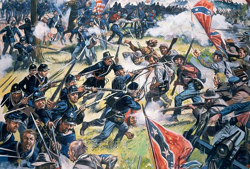 American Civil War.  Original artwork for Look and Learn (issue yet to be identified).  Scanned from transparency.