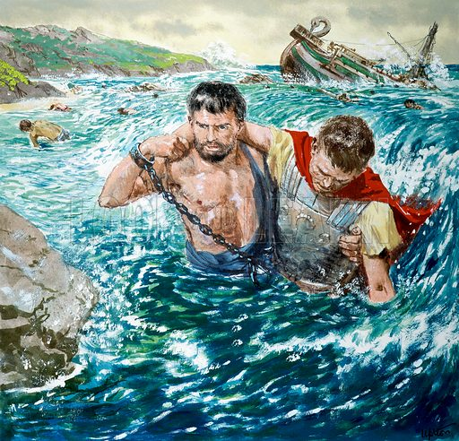 The story of Paul retold, taken from The Acts of the Apostles in The Bible: The Great Shipwreck.  Original artwork for illustration on p9 of Treasure issue no 208.  Scanned from transparency.
