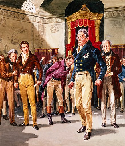 A Pageant of Kings: William IV -- The Triumph of the Reformers. Accompanied by his Whig Party ministers, William goes to the House of Commons to dissolve Parliament in 1831. Lord Grey (behind the king in our illustration) had asked for the move to be taken after the Tories had defeated the Reform Bill.  Original artwork for illustration on p19 of Look and Learn issue no 150.  Scanned from transparency.