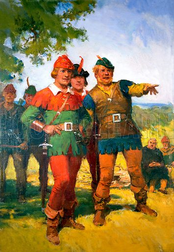 Robin Hood with some of his merry men.  Original artwork for Look and Learn (issue yet to be identified).  Scanned from transparency.