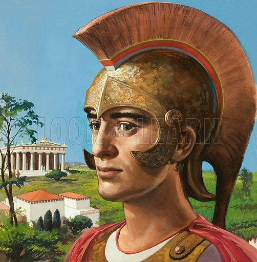 Ancient Greek in Helmet. Original artwork for cover of Look and Learn issue no 97 (23 November 1963).
