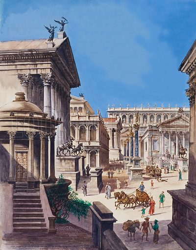 Ancient Rome.  This is a picture of the Forum, the centre of ancient Rome.  Original artwork for illustration in Treasure issue no 245 (23 September 1967).  Lent for scanning by The Gallery of Illustration.
