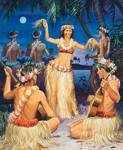 Hula! Original artwork for illustration on p32 of Look and Learn issue no 347 (7 September 1968).