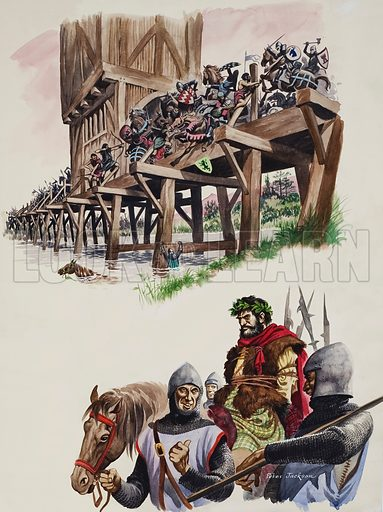 The Battle of Stirling and William Wallace being paraded in captivity.  Original artwork for illustration on pp16-17 of Treasure issue no 51 (4 January 1964).  Lent for scanning by The Gallery of Illustration.