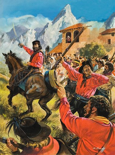 Garibaldi.  Backed by a small army of red-shirted fighters, Guiseppe Garibaldi landed in Sicily at the end of the peasant uprising and routed the Neopolitan troops.  Original artwork for illustration on p26 of Look and Learn Issue no 941 (2 February 1980). Lent for scanning by The Gallery of Illustration.