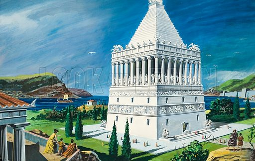 The Mausoleum. The original mausoleum which was the tomb of King Caria, erected by his widow, Artemisia, in 353BC. Original artwork for illustration on pp4–5 of The Ninth Look and Learn Book of 1001 Questions and Answers (1976).