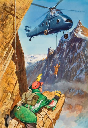 Helicopter Rescue.  Original artwork for illustration on p10 of Look and Learn issue no 194 (2 October 1965).  Lent for scanning by The Gallery of Illustration.
