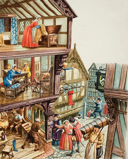 Elizabethan Townscape, showing how craftsmen would hang their own special signs.  Original artwork for illustration on p12 of Treasure issue no 325 (5 April 1969).  Lent for scanning by The Gallery of Illustration.